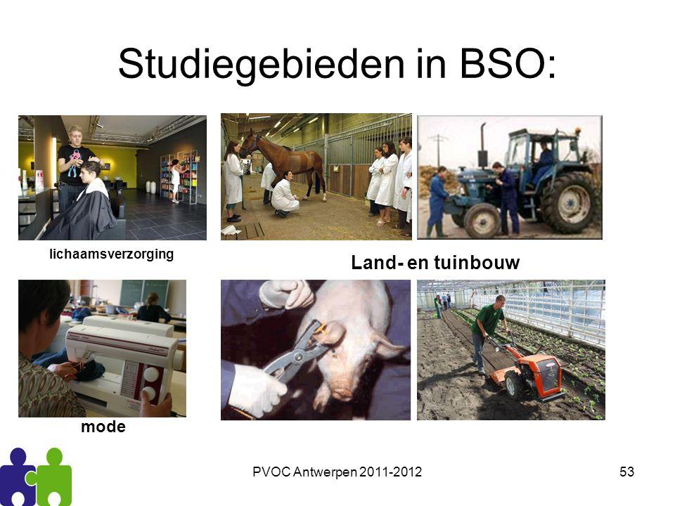 PVOC Antwerpen 2011-201253 Studiegebieden in BSO: Land- en tuinbouw lichaamsverzorging mode