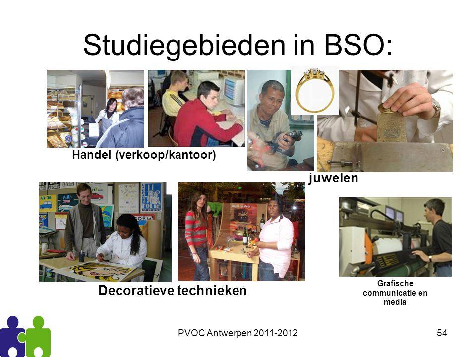 PVOC Antwerpen 2011-201254 Studiegebieden in BSO: Handel (verkoop/kantoor) juwelen Grafische communicatie en media Decoratieve technieken