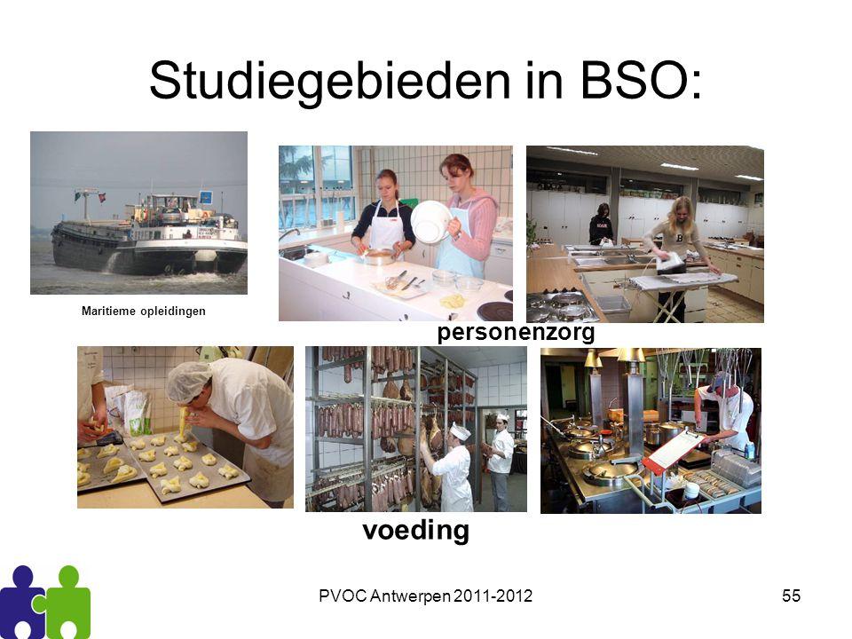 PVOC Antwerpen 2011-201255 Studiegebieden in BSO: personenzorg voeding Maritieme opleidingen