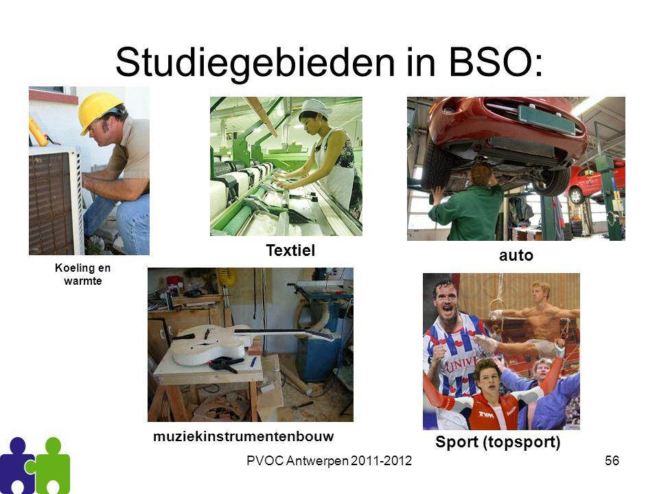 PVOC Antwerpen 2011-201256 Studiegebieden in BSO: Koeling en warmte Textiel muziekinstrumentenbouw auto Sport (topsport)