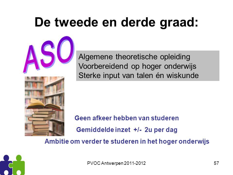 PVOC Antwerpen 2011-201257 De tweede en derde graad: Algemene theoretische opleiding Voorbereidend op hoger onderwijs Sterke input van talen én wiskun