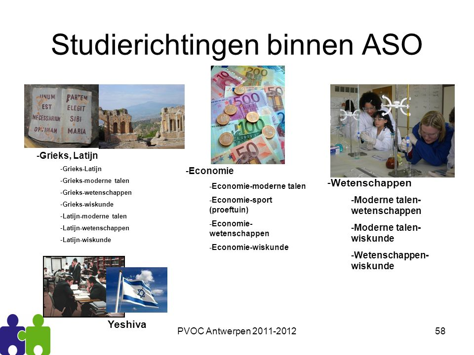 PVOC Antwerpen 2011-201258 Studierichtingen binnen ASO -Grieks, Latijn -Grieks-Latijn -Grieks-moderne talen -Grieks-wetenschappen -Grieks-wiskunde -La