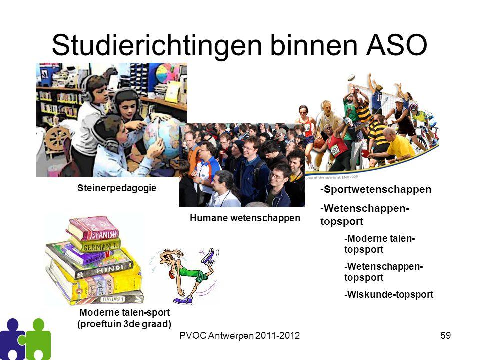 PVOC Antwerpen 2011-201259 Studierichtingen binnen ASO -Sportwetenschappen -Wetenschappen- topsport -Moderne talen- topsport -Wetenschappen- topsport