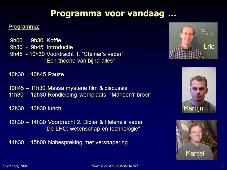 1 21 cctober, 2006Waar is de Anti-materie heen? Programma voor vandaag … Programma: 9h00 - 9h30 Koffie 9h30 - 9h45 Introductie 9h45 - 10h30 Voordracht