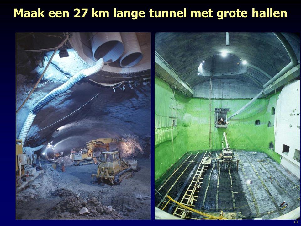 11 Maak een 27 km lange tunnel met grote hallen