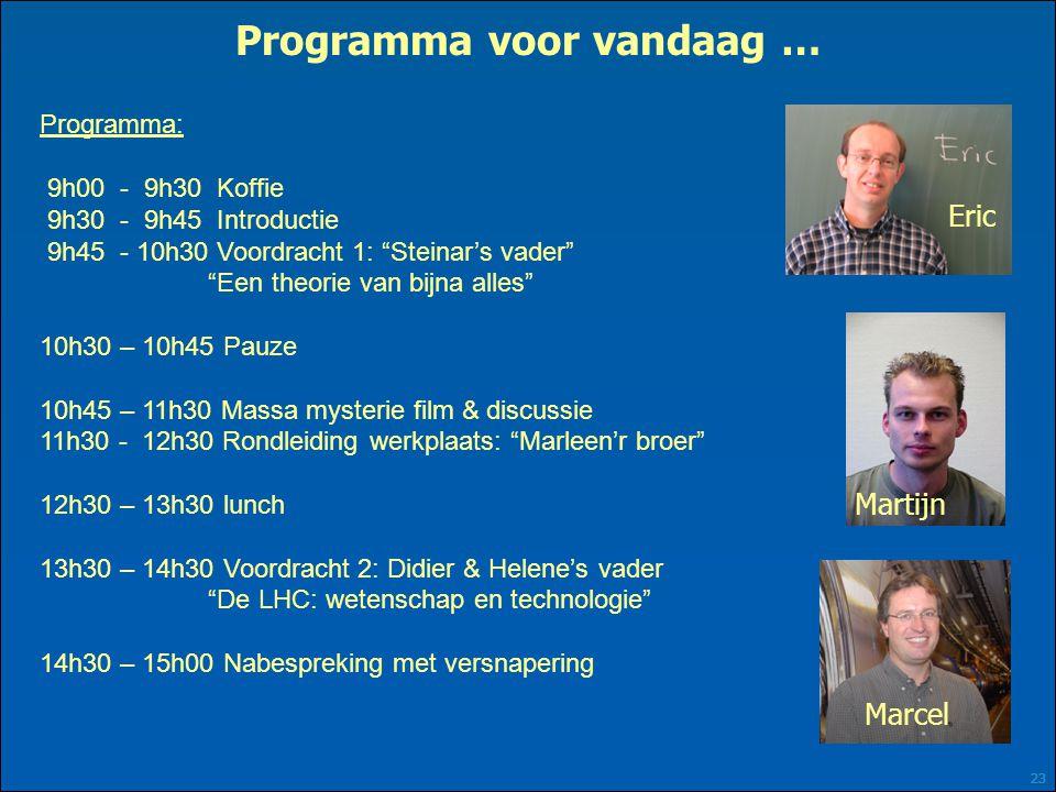 """23 Programma voor vandaag … Programma: 9h00 - 9h30 Koffie 9h30 - 9h45 Introductie 9h45 - 10h30 Voordracht 1: """"Steinar's vader"""" """"Een theorie van bijna"""