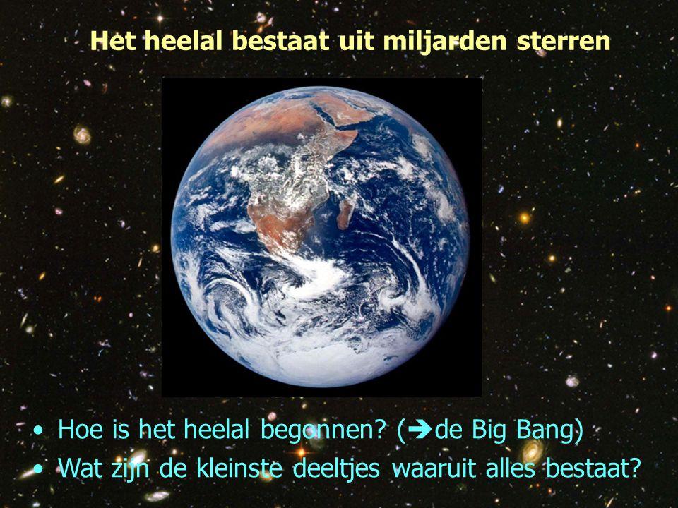4 Het heelal bestaat uit miljarden sterren Hoe is het heelal begonnen? (  de Big Bang) Wat zijn de kleinste deeltjes waaruit alles bestaat?