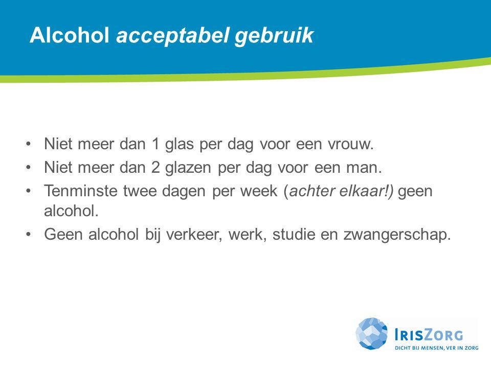Niet meer dan 1 glas per dag voor een vrouw. Niet meer dan 2 glazen per dag voor een man. Tenminste twee dagen per week (achter elkaar!) geen alcohol.