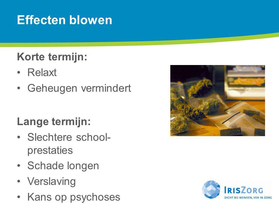 Effecten blowen Korte termijn: Relaxt Geheugen vermindert Lange termijn: Slechtere school- prestaties Schade longen Verslaving Kans op psychoses