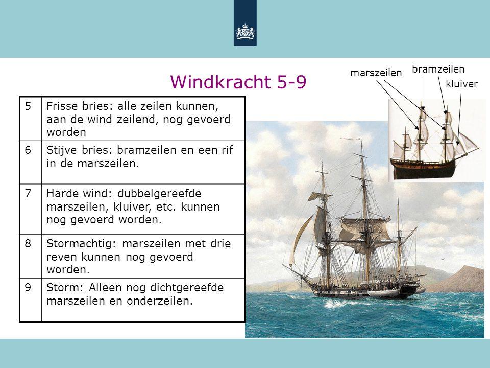 Windkracht 5-9 5Frisse bries: alle zeilen kunnen, aan de wind zeilend, nog gevoerd worden 6Stijve bries: bramzeilen en een rif in de marszeilen. 7Hard