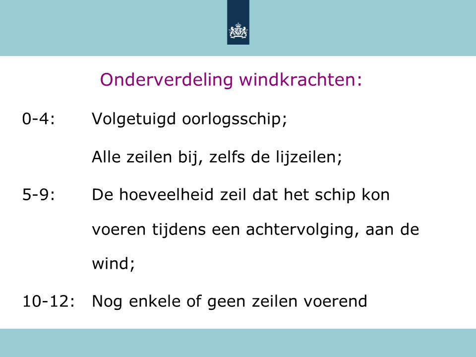 Onderverdeling windkrachten: 0-4:Volgetuigd oorlogsschip; Alle zeilen bij, zelfs de lijzeilen; 5-9:De hoeveelheid zeil dat het schip kon voeren tijden
