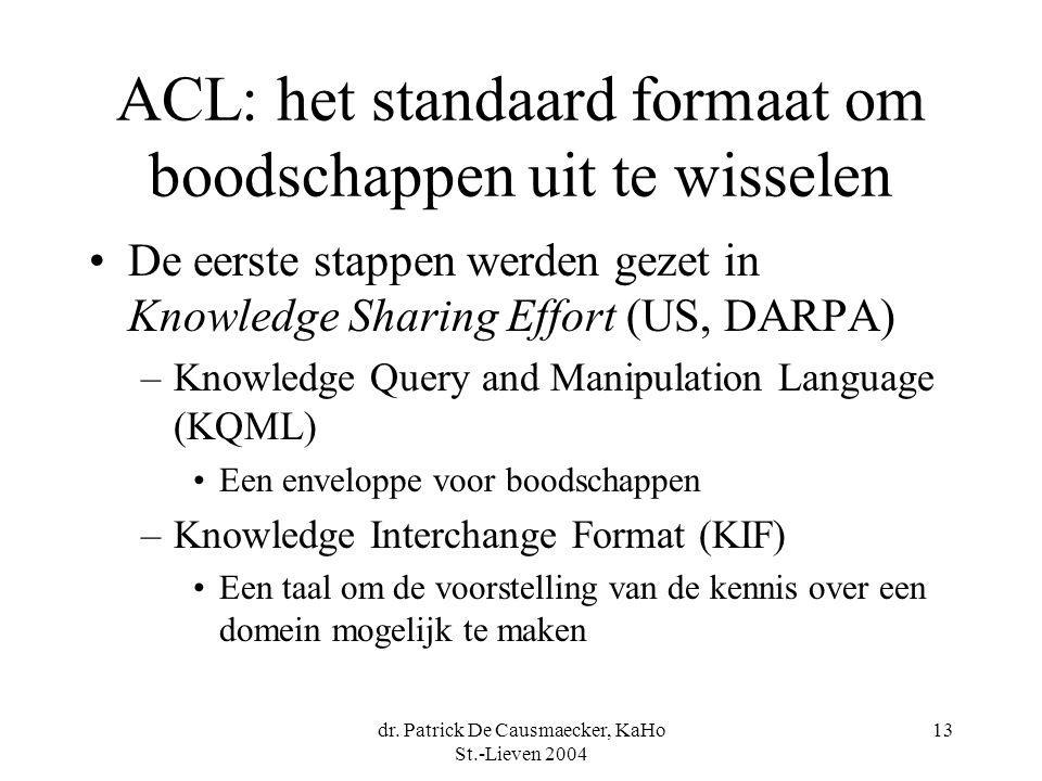 dr. Patrick De Causmaecker, KaHo St.-Lieven 2004 13 ACL: het standaard formaat om boodschappen uit te wisselen De eerste stappen werden gezet in Knowl