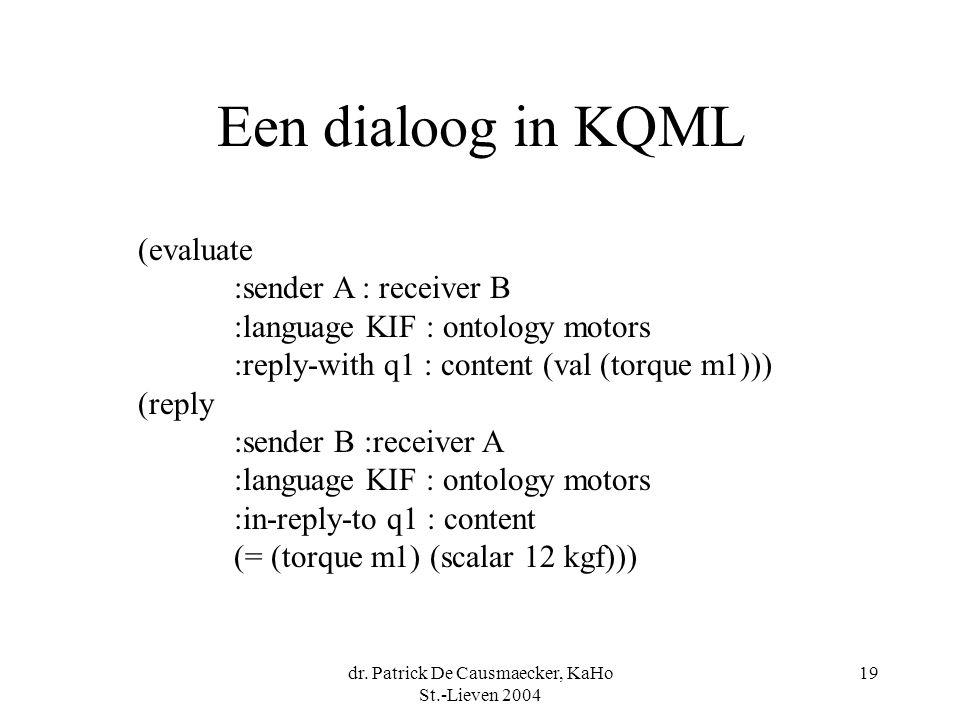 dr. Patrick De Causmaecker, KaHo St.-Lieven 2004 19 Een dialoog in KQML (evaluate :sender A : receiver B :language KIF : ontology motors :reply-with q