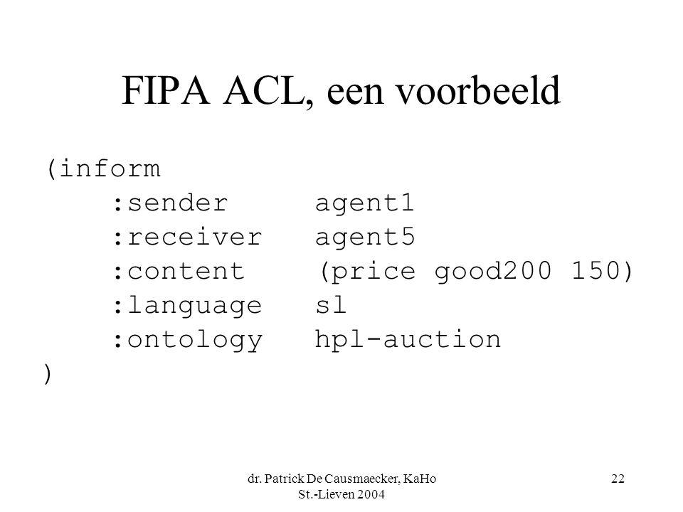 dr. Patrick De Causmaecker, KaHo St.-Lieven 2004 22 FIPA ACL, een voorbeeld (inform :senderagent1 :receiveragent5 :content(price good200 150) :languag
