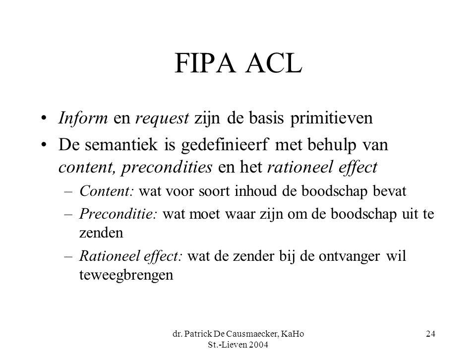 dr. Patrick De Causmaecker, KaHo St.-Lieven 2004 24 FIPA ACL Inform en request zijn de basis primitieven De semantiek is gedefinieerf met behulp van c