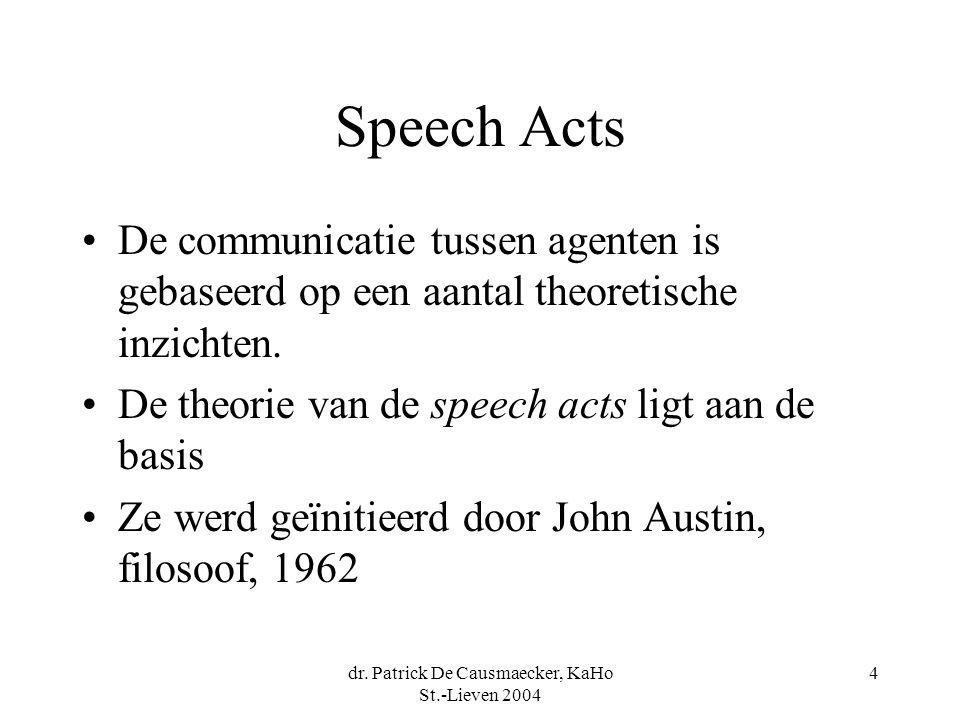 dr. Patrick De Causmaecker, KaHo St.-Lieven 2004 4 Speech Acts De communicatie tussen agenten is gebaseerd op een aantal theoretische inzichten. De th