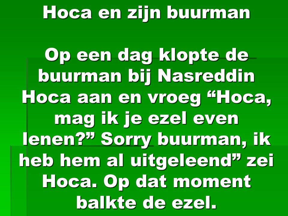 """Hoca en zijn buurman Op een dag klopte de buurman bij Nasreddin Hoca aan en vroeg """"Hoca, mag ik je ezel even lenen?"""" Sorry buurman, ik heb hem al uitg"""