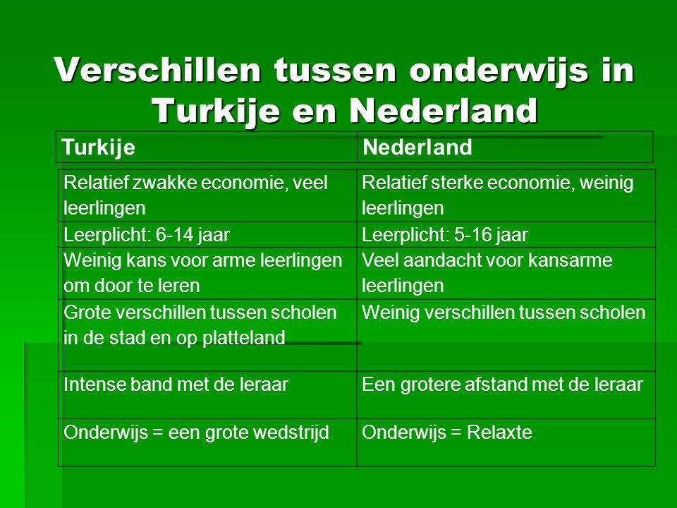 Verschillen tussen onderwijs in Turkije en Nederland TurkijeNederland Relatief zwakke economie, veel leerlingen Relatief sterke economie, weinig leerl