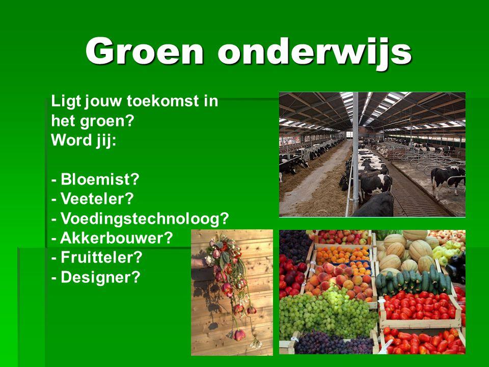 Groen onderwijs Ligt jouw toekomst in het groen? Word jij: - Bloemist? - Veeteler? - Voedingstechnoloog? - Akkerbouwer? - Fruitteler? - Designer?