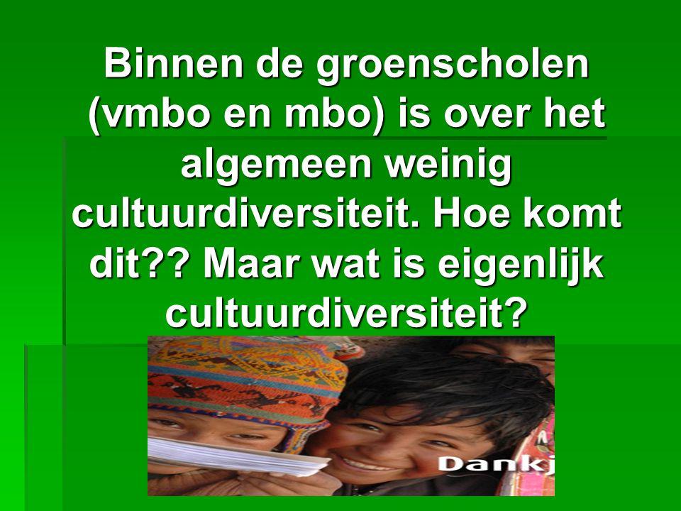 Binnen de groenscholen (vmbo en mbo) is over het algemeen weinig cultuurdiversiteit. Hoe komt dit?? Maar wat is eigenlijk cultuurdiversiteit?