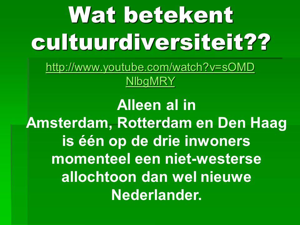 Wat betekent cultuurdiversiteit?? http://www.youtube.com/watch?v=sOMD NlbgMRY http://www.youtube.com/watch?v=sOMD NlbgMRY Alleen al in Amsterdam, Rott