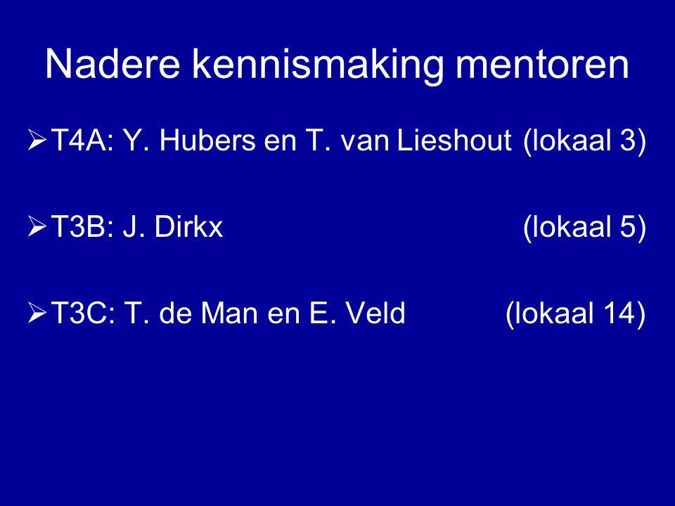 Nadere kennismaking mentoren  T4A: Y. Hubers en T. van Lieshout (lokaal 3)  T3B: J. Dirkx (lokaal 5)  T3C: T. de Man en E. Veld (lokaal 14)