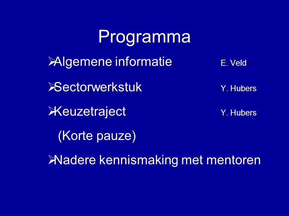 Programma  Algemene informatie E. Veld  Sectorwerkstuk Y. Hubers  Keuzetraject Y. Hubers (Korte pauze)  Nadere kennismaking met mentoren