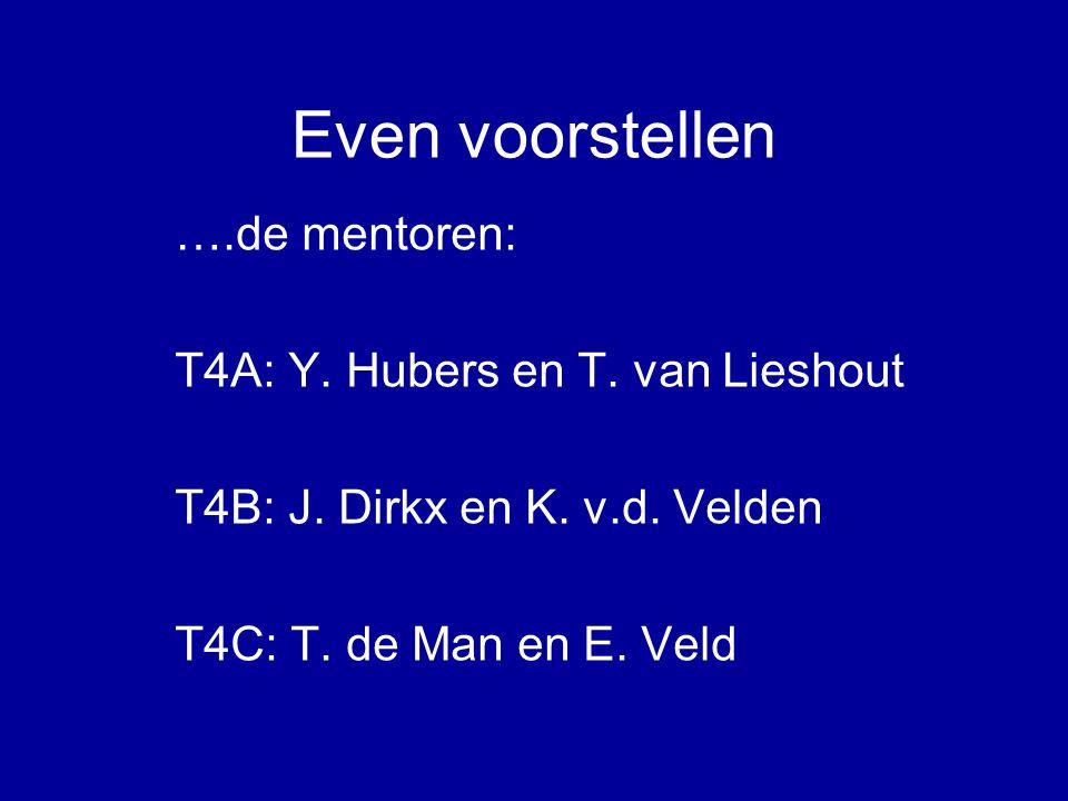 Even voorstellen ….de mentoren: T4A: Y. Hubers en T. van Lieshout T4B: J. Dirkx en K. v.d. Velden T4C: T. de Man en E. Veld