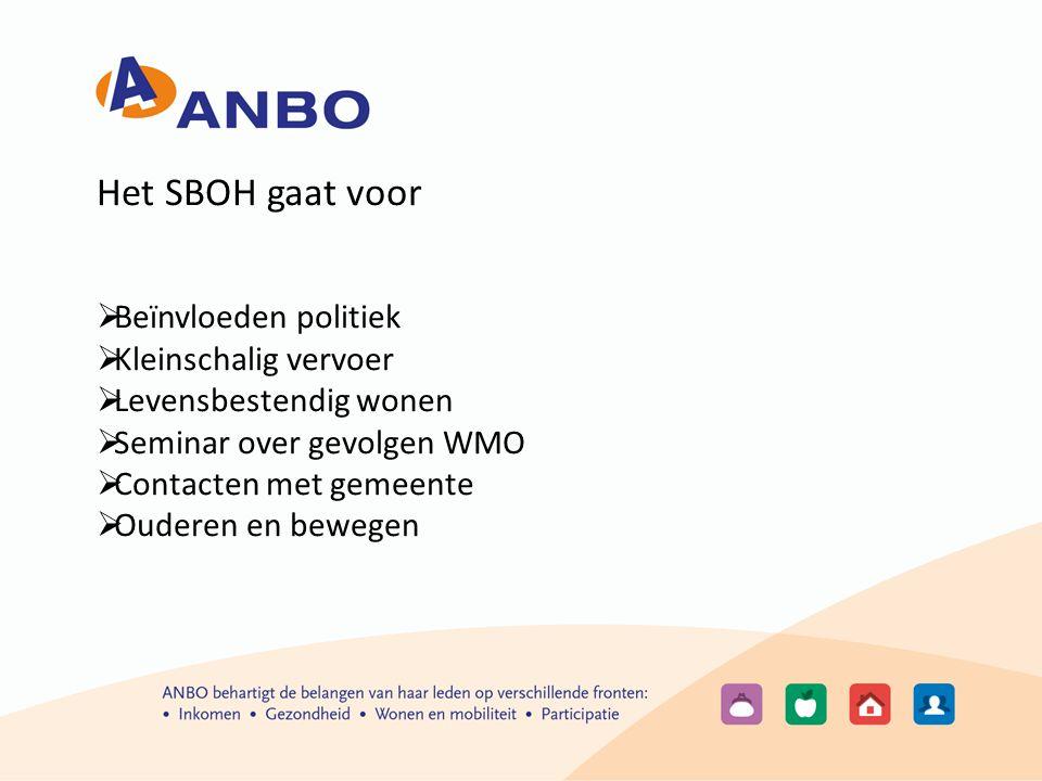 Het SBOH gaat voor  Beïnvloeden politiek  Kleinschalig vervoer  Levensbestendig wonen  Seminar over gevolgen WMO  Contacten met gemeente  Ouderen en bewegen