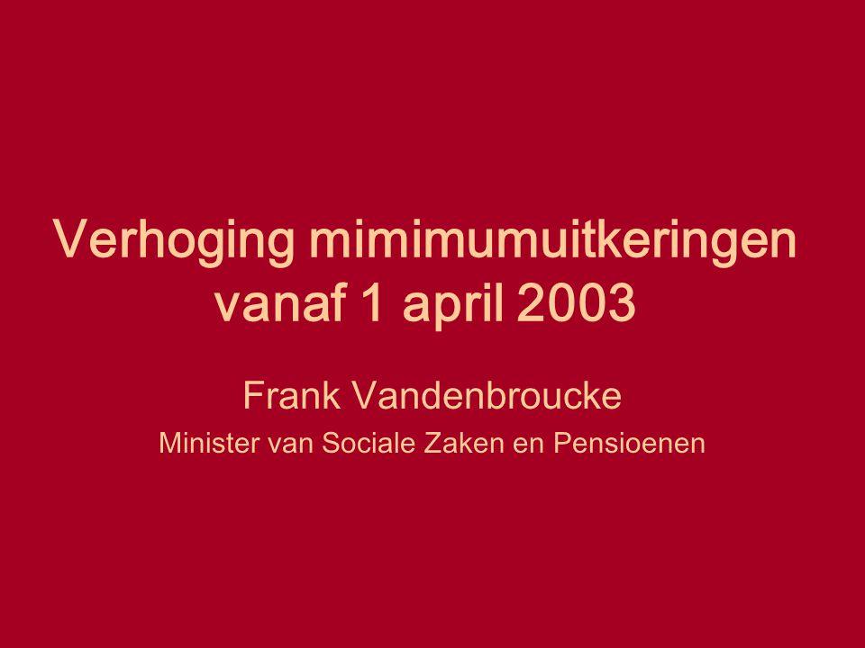 Verhoging mimimumuitkeringen vanaf 1 april 2003 Frank Vandenbroucke Minister van Sociale Zaken en Pensioenen