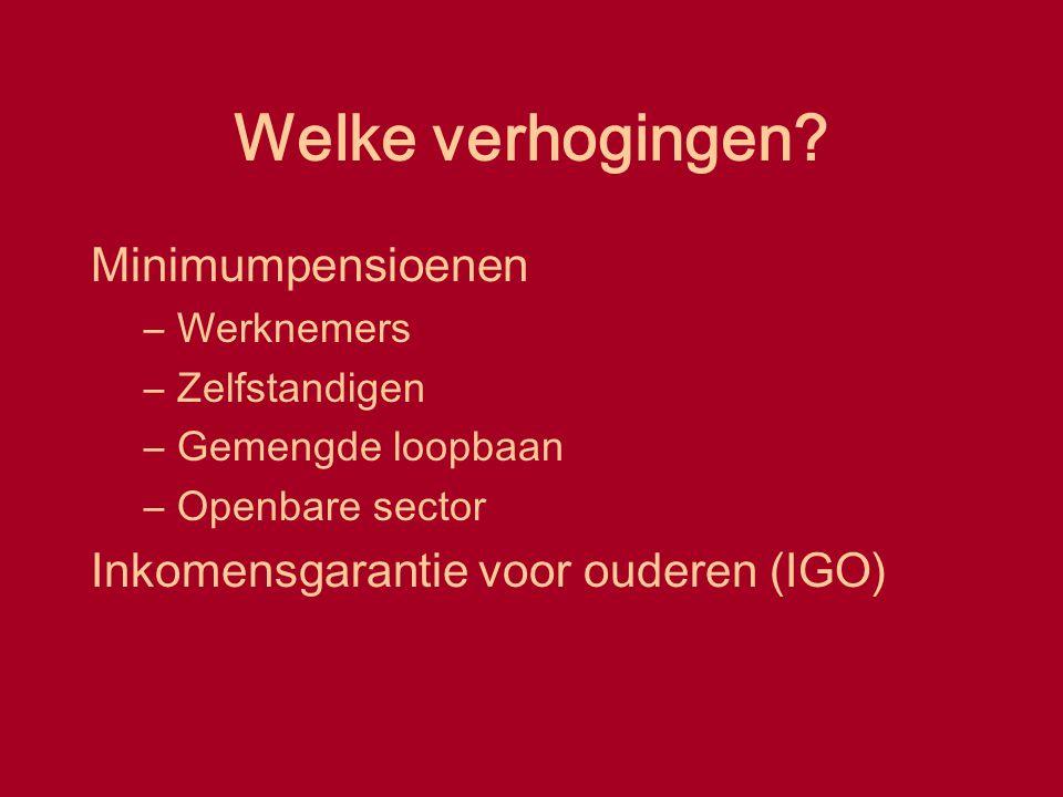 Welke verhogingen? Minimumpensioenen –Werknemers –Zelfstandigen –Gemengde loopbaan –Openbare sector Inkomensgarantie voor ouderen (IGO)