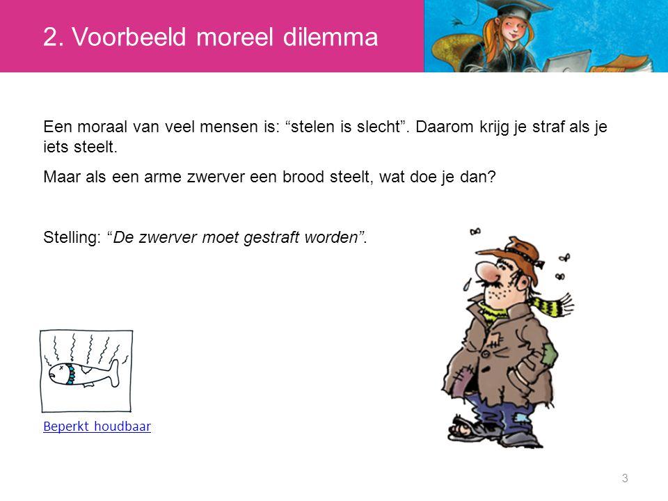 2.Voorbeeld moreel dilemma 3 Een moraal van veel mensen is: stelen is slecht .