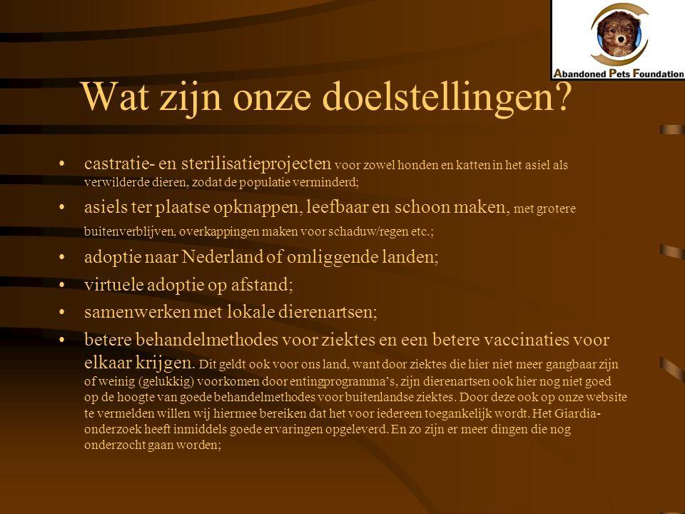 Wat zijn onze doelstellingen? castratie- en sterilisatieprojecten voor zowel honden en katten in het asiel als verwilderde dieren, zodat de populatie