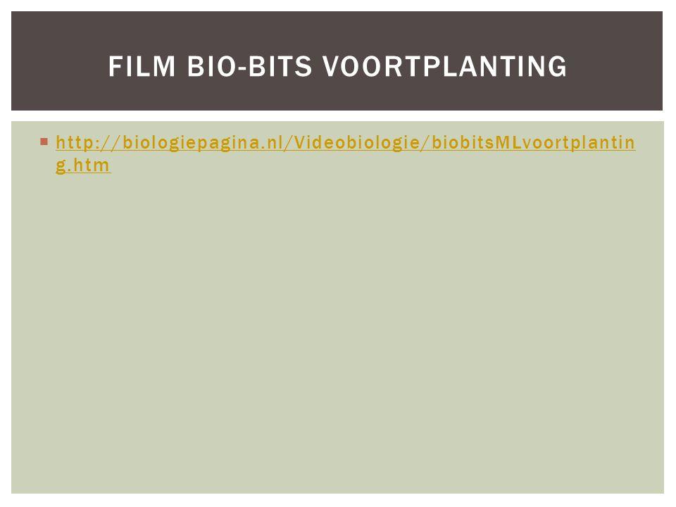  http://biologiepagina.nl/Videobiologie/biobitsMLvoortplantin g.htm http://biologiepagina.nl/Videobiologie/biobitsMLvoortplantin g.htm FILM BIO-BITS