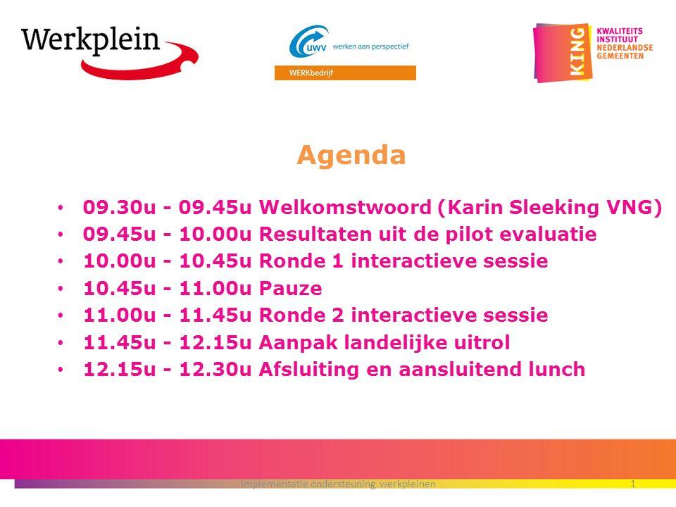 09.30u - 09.45u Welkomstwoord (Karin Sleeking VNG) 09.45u - 10.00u Resultaten uit de pilot evaluatie 10.00u - 10.45u Ronde 1 interactieve sessie 10.45