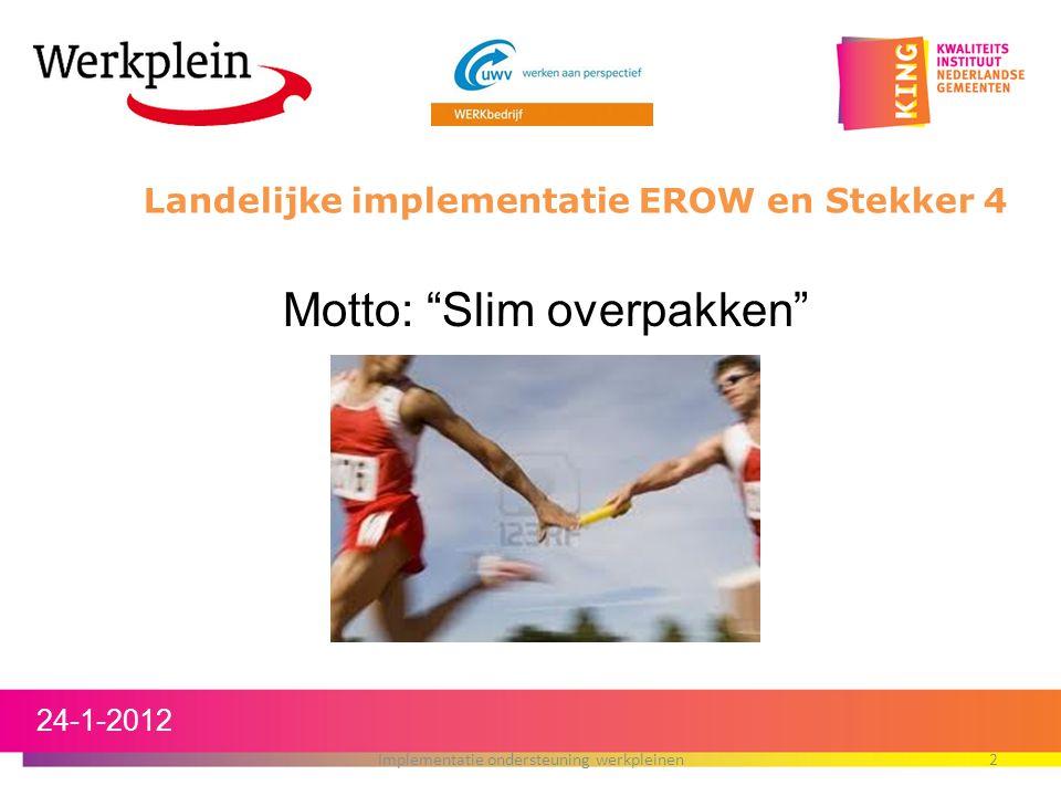 Landelijke implementatie EROW en Stekker 4 24-1-2012 Implementatie ondersteuning werkpleinen2 Motto: Slim overpakken
