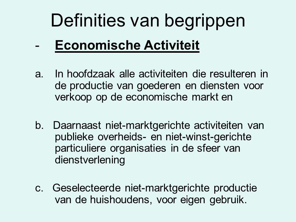 Definities van begrippen -Economische Activiteit a.In hoofdzaak alle activiteiten die resulteren in de productie van goederen en diensten voor verkoop op de economische markt en b.