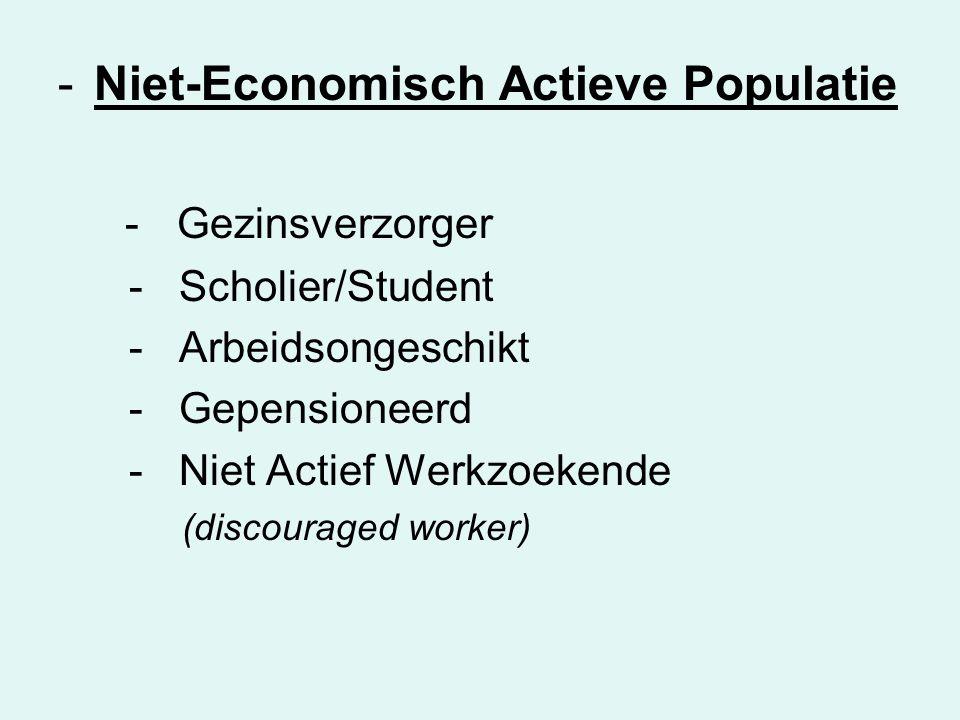 -Niet-Economisch Actieve Populatie - Gezinsverzorger - Scholier/Student - Arbeidsongeschikt - Gepensioneerd - Niet Actief Werkzoekende (discouraged worker)