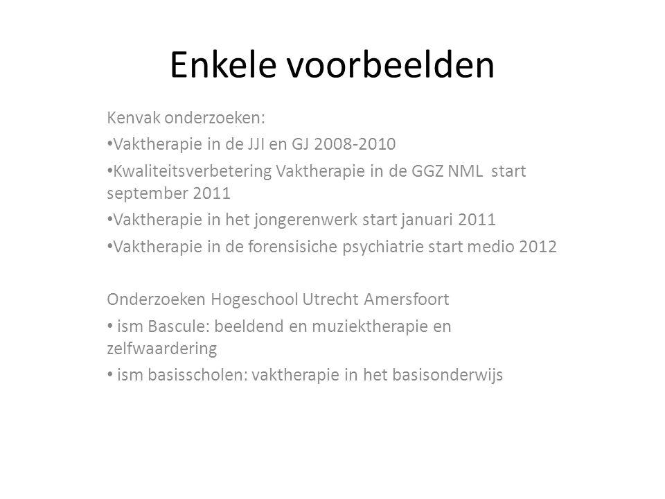 Enkele voorbeelden Kenvak onderzoeken: Vaktherapie in de JJI en GJ 2008-2010 Kwaliteitsverbetering Vaktherapie in de GGZ NML start september 2011 Vakt