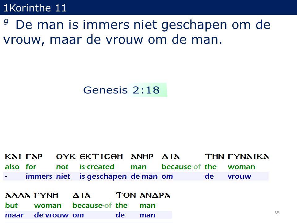 1Korinthe 11 9 De man is immers niet geschapen om de vrouw, maar de vrouw om de man. 35