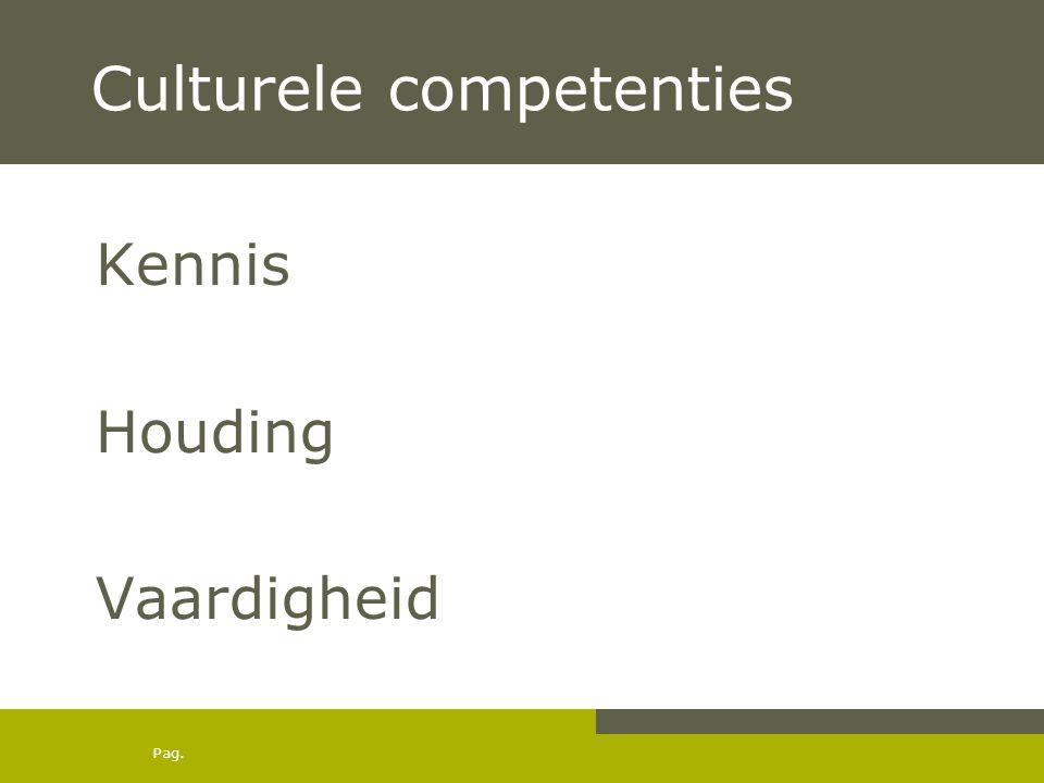 Pag. Culturele competenties Kennis Houding Vaardigheid