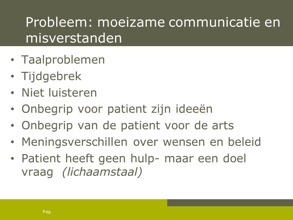 Pag. Probleem: moeizame communicatie en misverstanden Taalproblemen Tijdgebrek Niet luisteren Onbegrip voor patient zijn ideeën Onbegrip van de patien