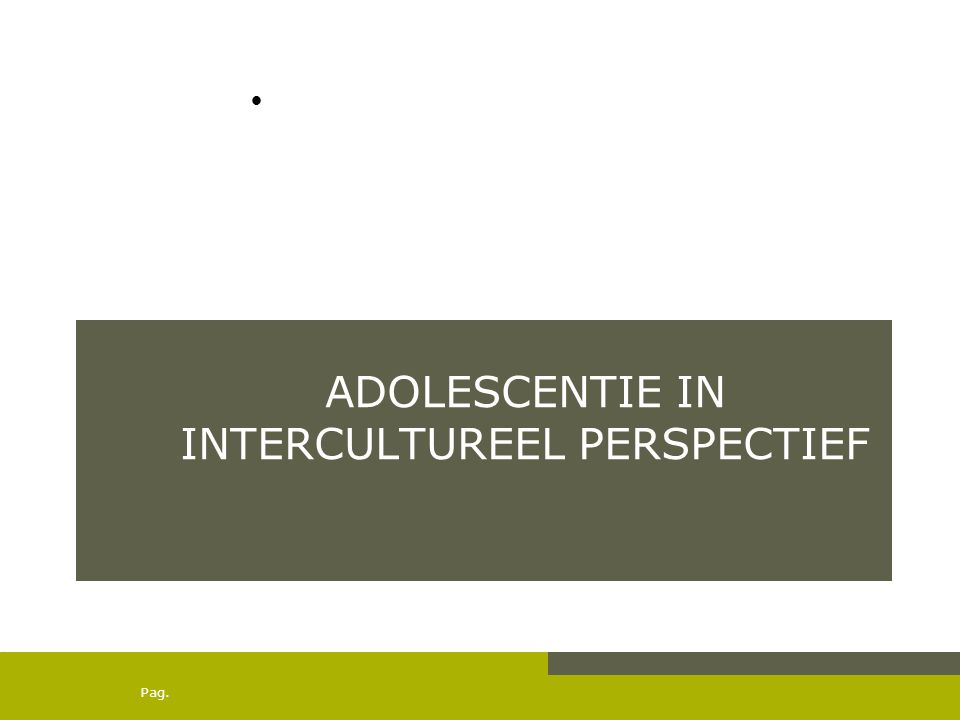 Pag. ADOLESCENTIE IN INTERCULTUREEL PERSPECTIEF