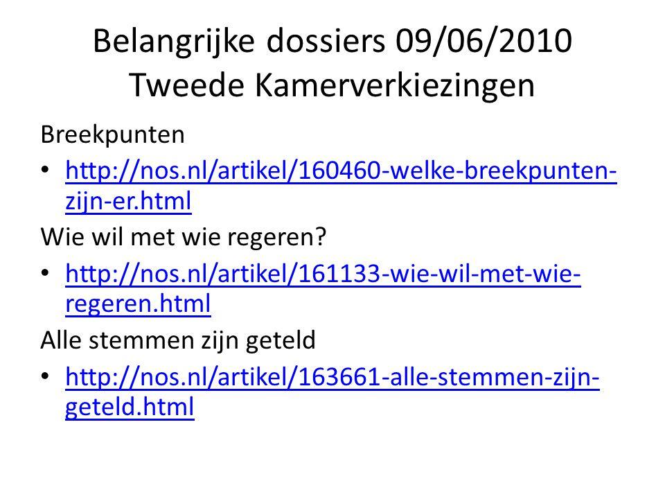 Belangrijke dossiers 09/06/2010 Tweede Kamerverkiezingen Breekpunten http://nos.nl/artikel/160460-welke-breekpunten- zijn-er.html http://nos.nl/artikel/160460-welke-breekpunten- zijn-er.html Wie wil met wie regeren.