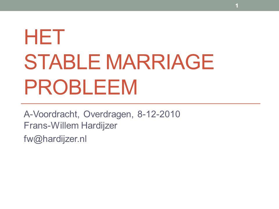 HET STABLE MARRIAGE PROBLEEM A-Voordracht, Overdragen, 8-12-2010 Frans-Willem Hardijzer fw@hardijzer.nl 1