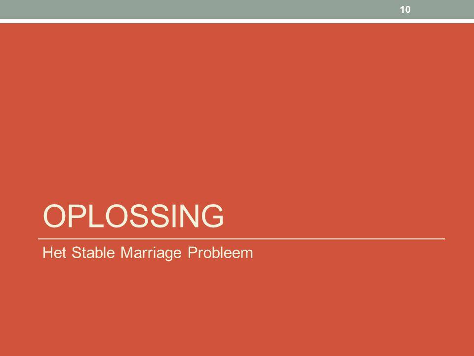 OPLOSSING Het Stable Marriage Probleem 10