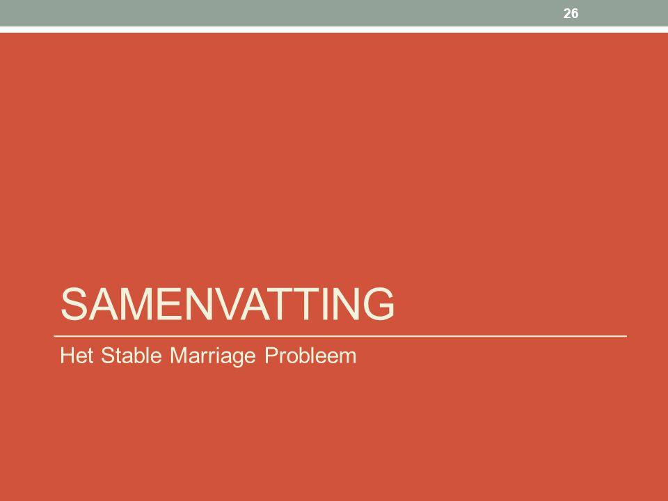 SAMENVATTING Het Stable Marriage Probleem 26