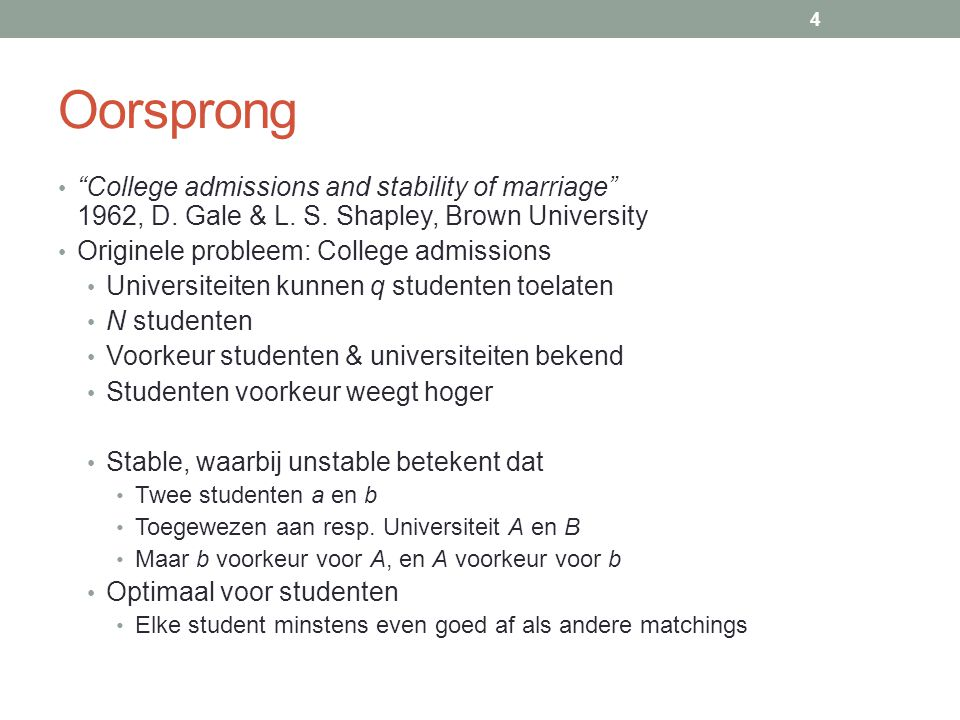 Oorsprong College admissions and stability of marriage 1962, D.