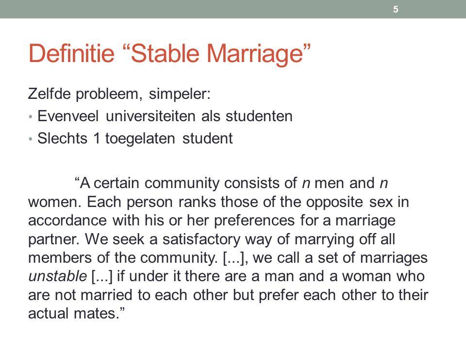 Definitie Stable Marriage Zelfde probleem, simpeler: Evenveel universiteiten als studenten Slechts 1 toegelaten student A certain community consists of n men and n women.
