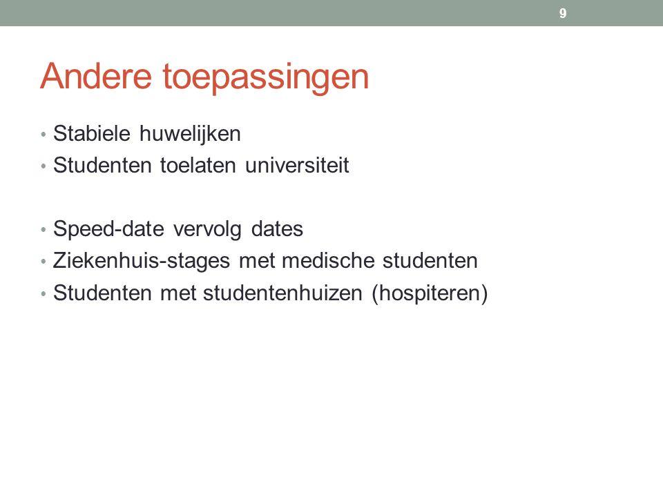 Andere toepassingen Stabiele huwelijken Studenten toelaten universiteit Speed-date vervolg dates Ziekenhuis-stages met medische studenten Studenten met studentenhuizen (hospiteren) 9
